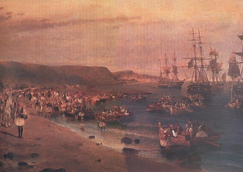 Η αποβίβαση του Καραισκάκη στο Φάληρο (λεπτομέρεια). Λάδι. Κ. Βολανάκη.