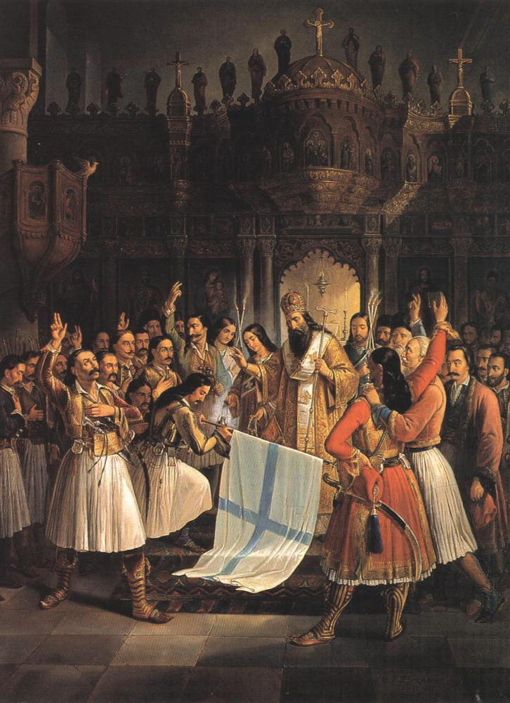Germanos, Metropolitan of Patras, Blessing the flag of Revolution, Theodoros Vryzakis, 1865, 16,4x1,26m, oel on canvas. National Art Gallery and Alexandros Soutzos Museum, Athense? ??e???d??? S??t???