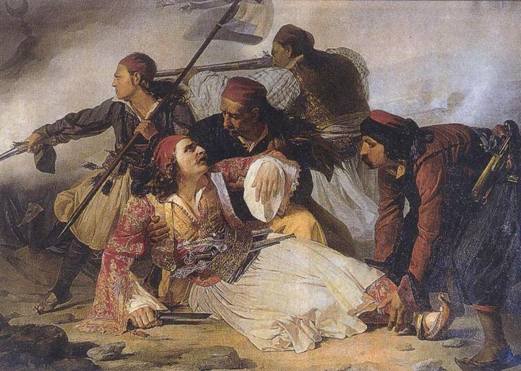 Ο θάνατος του Μάρκου Μπότσαρη Πίνακας από τον Ludovico Lipparini, που βρίσκεται στο μουσείο της Τεργέστης στην Ιταλία.